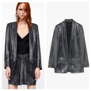 ZARA | Black / Silver Sequin Blazer
